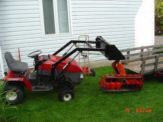 Homemade lawn tractor front loader