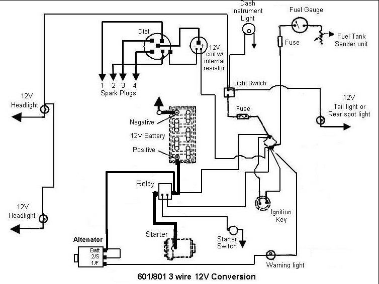 12V Conversion Problem | My Tractor Forum on powermaster alternator wiring diagram, powermaster starter diagram, tractor-trailer diagram, truck diagram, chevy alternator wiring diagram, ford 801 parts diagram, 6v to 12v wiring diagram,