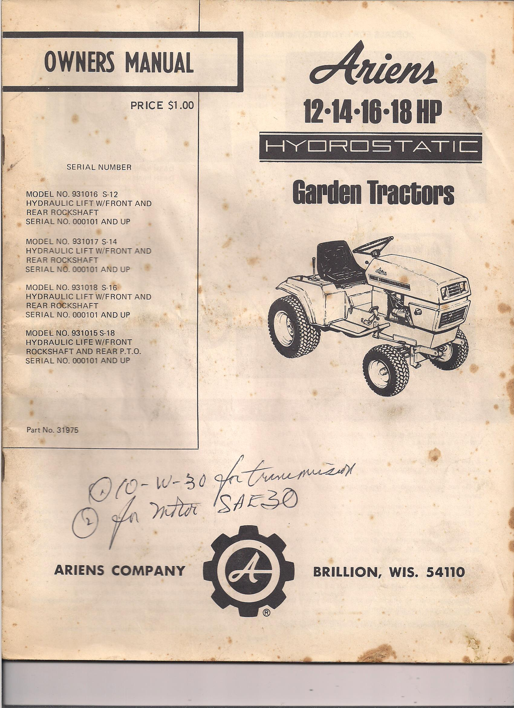 Ariens s16h--attachments available? - MyTractorForum com