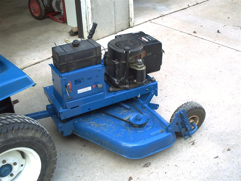Converting a finishing mower to a pull behind with motor