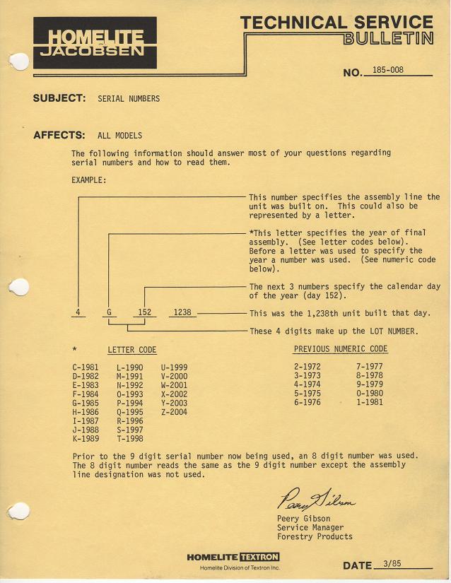 Homelite Model Year Serial Number Information