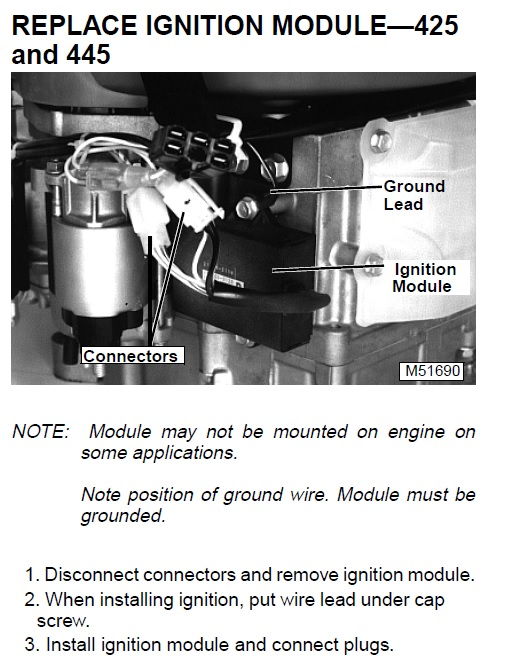 JD 425 Igniter Grounding - MyTractorForum com - The