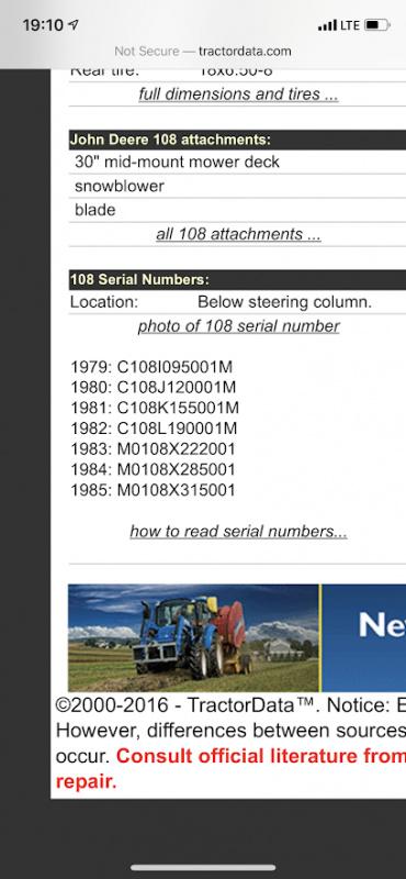 John Deere 108 Project - serial # not found online