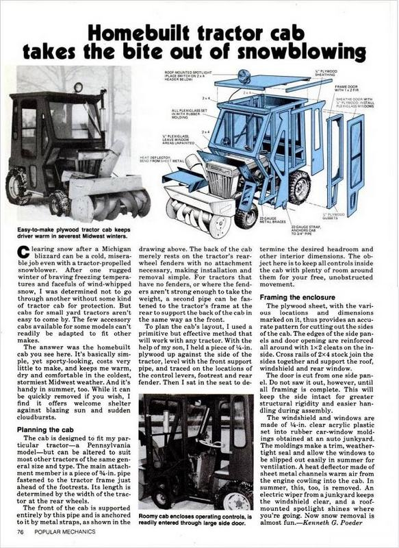 anyone make a wood frame snow cab Post the pics – Garden Tractor Cab Plans