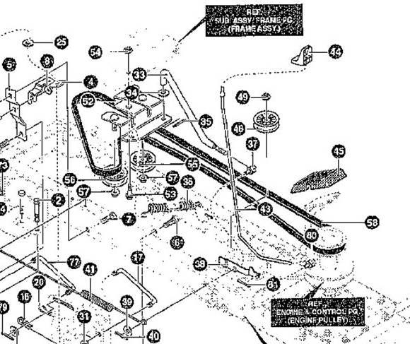 murray lawn mower drive belt diagram