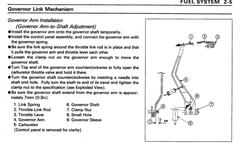 Kawasaki Governor arm-how to adjust it?? - MyTractorForum com - The