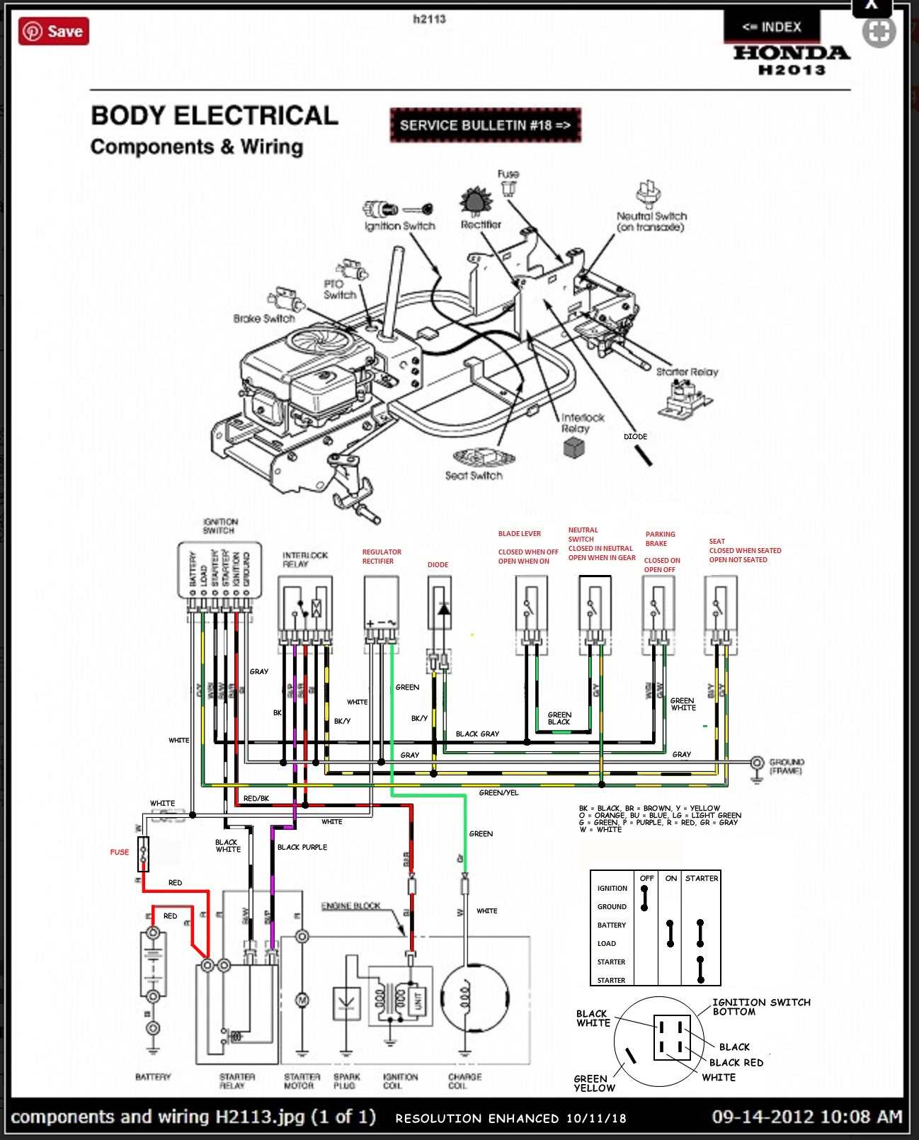 Honda Harmony 2113 Hydro, (ignition wiring) | My Tractor ForumMy Tractor Forum