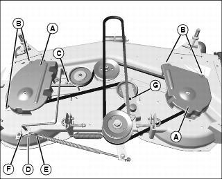 2923 John Deere L G Belt Routing Guide as well John Deere Mulch Control For 54 Inch Accel Deep Mower Deck BM24994 additionally 201439404622 together with OMTCU12447 I915 also John Deere  plete 54C 54X Shaft Driven Mower Deck Assembly SKU21684. on john deere 54 mower deck belt