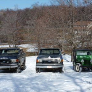 My 1991 ford bronco and F150 and my restored 1948 Willy's jeep a CJ 2A