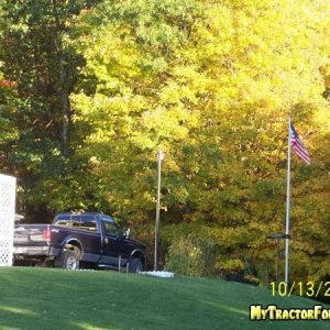 truck, flag and trees